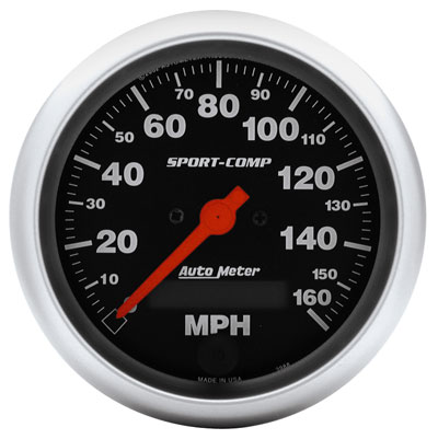 "Large photo of Sport-Comp 3-3/8"" Speedometer, 160 MPH, Programmable, Pegasus Part No. AM3988"