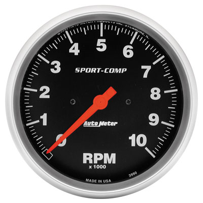 "Large photo of Sport-Comp 5"" Electric Tach, 10K In-Dash, Pegasus Part No. AM3990"