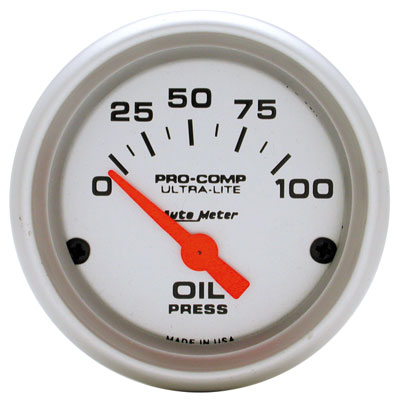 "Large photo of Ultra Lite 2"" Oil Pressure Gauge, 100psi, Electric, Pegasus Part No. AM4327"