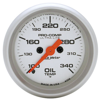"Large photo of Ultra Lite 2"" Oil Temp Gauge, 100-340F, Full Sweep Electric, Pegasus Part No. AM4356"
