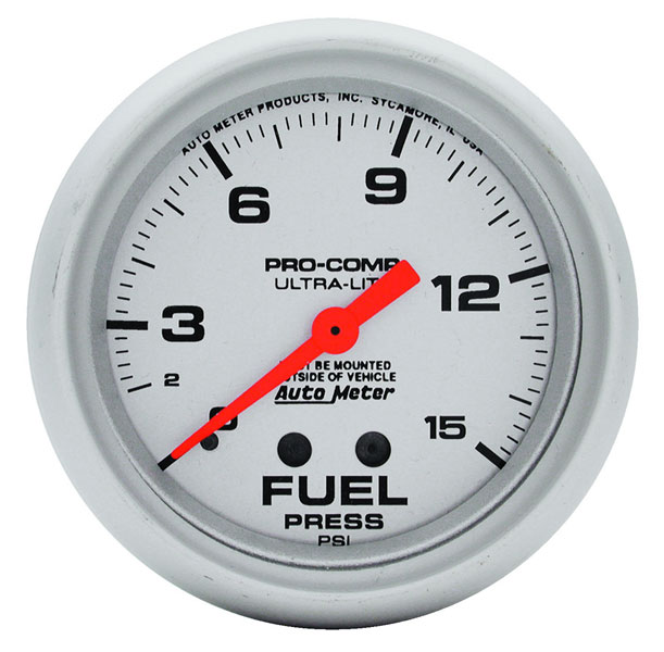 "Autometer 4368 Ultra Lite Electric Water Pressure Gauge: Ultra Lite 2 5/8"" Fuel Pressure Gauge, 15psi"