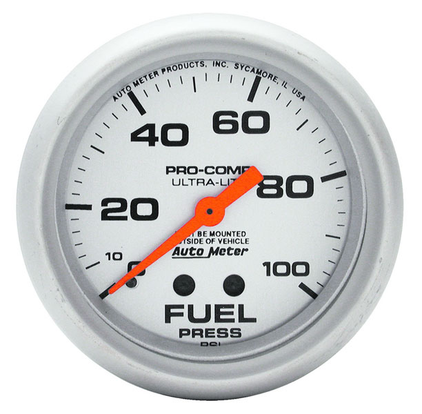 "Large photo of Ultra Lite 2 5/8"" Fuel Pressure Gauge, 100psi, Pegasus Part No. AM4412"