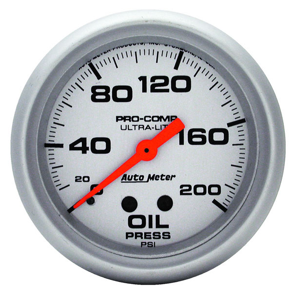 "Large photo of Ultra Lite 2 5/8"" Oil Pressure Gauge, 200psi,  6 ft, Pegasus Part No. AM4422"