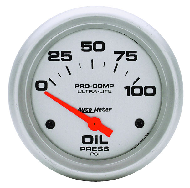 "Large photo of Ultra Lite 2 5/8"" Oil Pressure Gauge, 100psi, Electric, Pegasus Part No. AM4427"
