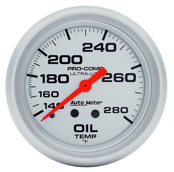"Large photo of Ultra Lite 2 5/8"" Oil Temp Gauge, 140-280 F, 6 ft, Pegasus Part No. AM4441"