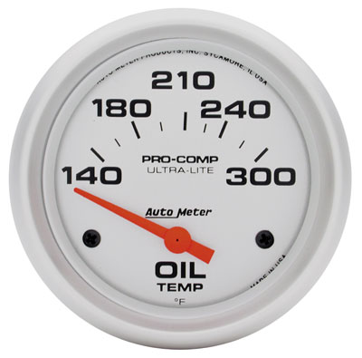 "Large photo of Ultra Lite 2 5/8"" Oil Temp Gauge, 140-300 F, Electric, Pegasus Part No. AM4447"