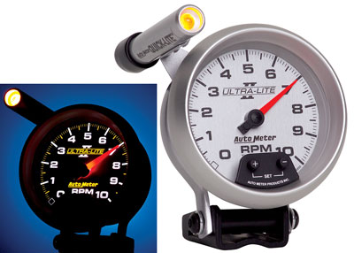 "Large photo of Ultra Lite II 3-3/4"" Mini-Monster Tach, 10k w/ Shift Light, Pegasus Part No. AM4990"