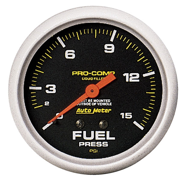 Large photo of Pro Comp 2 5/8 inch Liquid Filled Fuel Press Gauge, 15psi, Pegasus Part No. AM5411