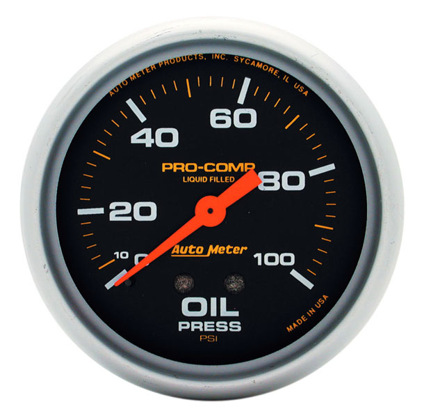 Large photo of Pro Comp 2 5/8 inch Liquid Filled Oil Pressure Gauge, 100psi, Pegasus Part No. AM5421