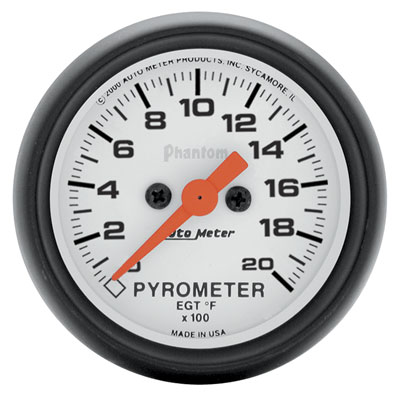 "Large photo of Auto Meter 2"" Phantom EGT Gauge w/Thermocouple, 2000F, Pegasus Part No. AM5745"