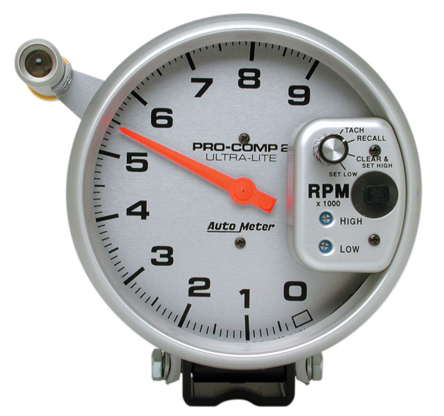 "Large photo of Ultra Lite 5"" Electric Tach, 9K w/ Shift Light & Memory, Pegasus Part No. AM6856"