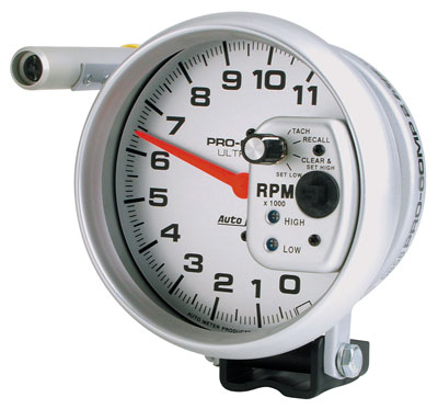 "Large photo of Ultra Lite 5"" Electric Tach, 11K w/ Shift Light & Memory, Pegasus Part No. AM6858"