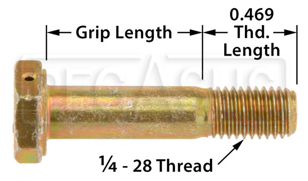 Large photo of AN4  Airframe Bolt - Drilled Head, 1/4-28 Thread, Pegasus Part No. AN4H-Size