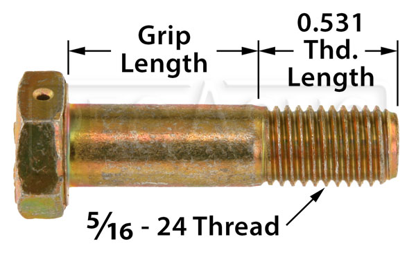 Large photo of AN5 Airframe Bolt - Drilled Head, 5/16-24 Thread, Pegasus Part No. AN5H-Size