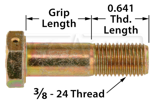 Large photo of AN6 Airframe Bolt - Drilled Head, 3/8-24 Thread, Pegasus Part No. AN6H-Size