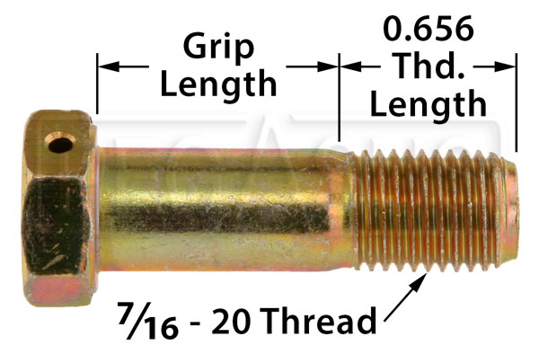 Large photo of AN7 Airframe Bolt - Drilled Head, 7/16-20 Thread, Pegasus Part No. AN7H-Size