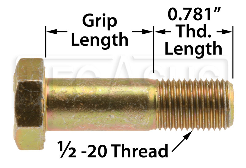 Large photo of AN8 Airframe Bolt, 1/2-20 Thread, Pegasus Part No. AN8-Size