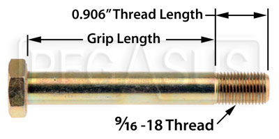 Large photo of AN9 Airframe Bolt, 9/16-18 Thread, Pegasus Part No. AN9-Size