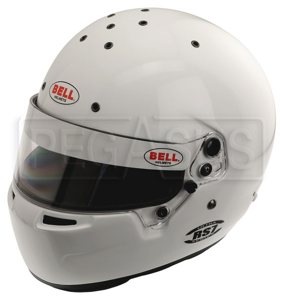Large photo of Bell RS7 Helmet, Snell SAH2010 and FIA, White, size 7 5/8, Pegasus Part No. BE008-S10-Size-Color