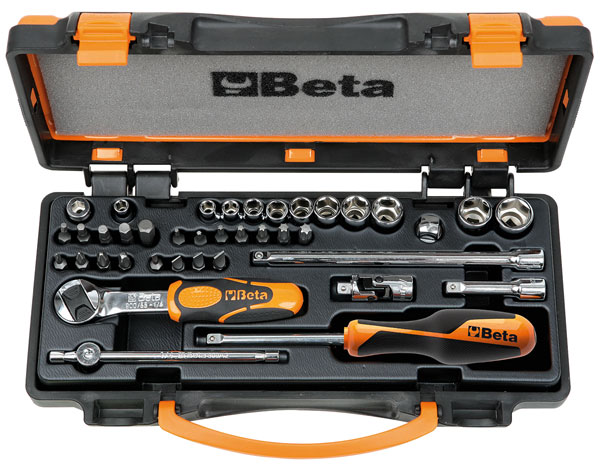 "Large photo of 900/C11 Handle / Bit / Socket Set w/Case, 1/4"" Drive, Metric, Pegasus Part No. BT-009000971"