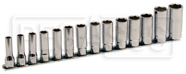 "Large photo of 910AL/SB14, 14-Pc Socket Set, 3/8"" Drive, 6-Pt Deep Metric, Pegasus Part No. BT-009100174"