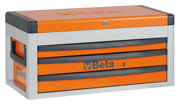 Large photo of Beta Tools C22S Three-Drawer Portable Tool Chest, Orange, Pegasus Part No. BT-022000501