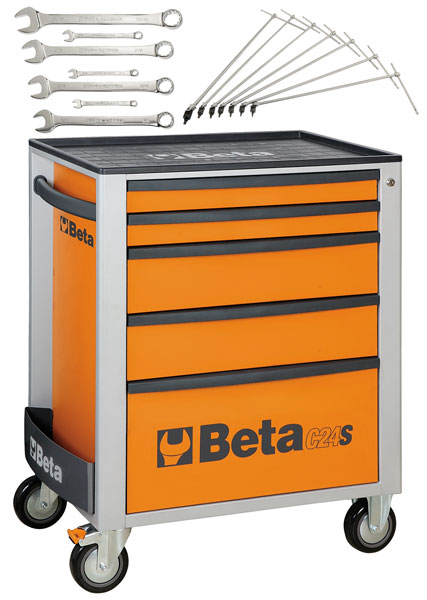 Large photo of Beta Tools C24S/5 Roller Tool Cabinet, Orange - Ships Truck, Pegasus Part No. BT-024002051