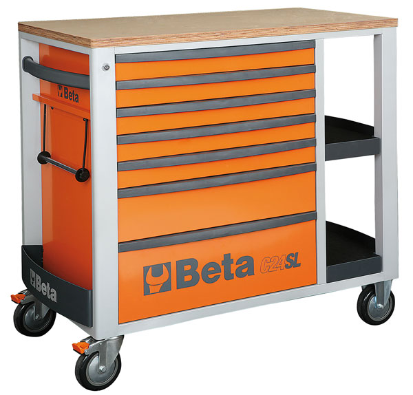 Large photo of C24SL Roller Tool Cabinet with Shelves, Orange - Ships Truck, Pegasus Part No. BT-024002101
