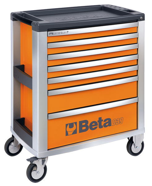 Large photo of Beta C39 7-Drawer Roller Tool Cabinet, Orange - Ships Truck, Pegasus Part No. BT-039000001
