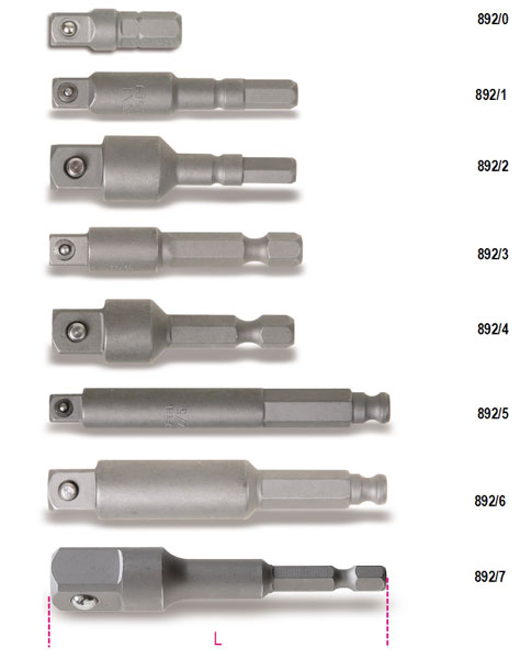 "Large photo of Beta 892/0 Adapter, 1/4"" Short Hex Bit to 1/4"" Square Drive, Pegasus Part No. BT-008920000"