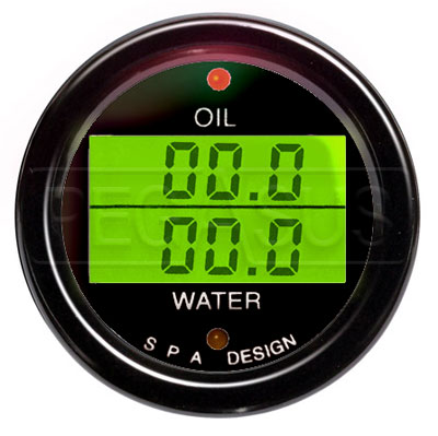 Large photo of SPA Oil Press./ Water Temp. Gauge - Black Face Black Bezel, Pegasus Part No. DG200