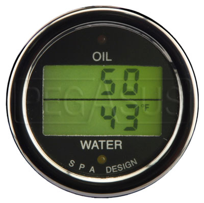 Large photo of SPA Oil Temp./ Water Temp. Gauge - Black Face, Black Bezel, Pegasus Part No. DG203