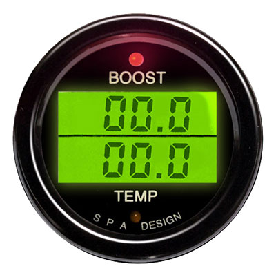 Large photo of SPA Boost / Temperature Gauge - Black Face, Black Bezel, Pegasus Part No. DG206