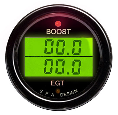 Large photo of SPA Boost / EGT Gauge - Black Face, Black Bezel, Pegasus Part No. DG211