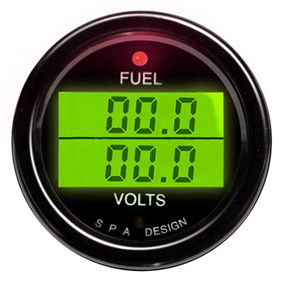 Large photo of SPA Fuel Level/ Voltmeter - Black Face, Black Bezel, Pegasus Part No. DG218