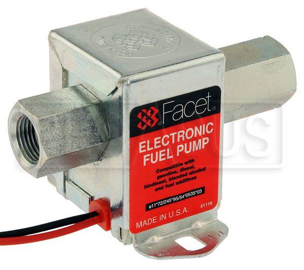 Large photo of Facet Cube Style 24 Volt Fuel Pump, 4.5 to 9 max psi, Pegasus Part No. FAC-40151
