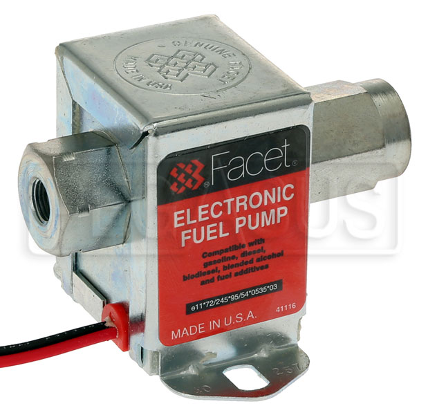 Large photo of Facet Cube Style 12 volt Fuel Pump, 9 to 11.5 max psi, Pegasus Part No. FAC-40257