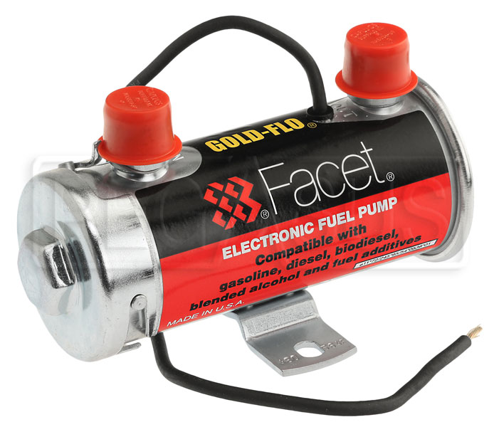 Large photo of Facet Cylindrical Style 24 Volt Fuel Pump, 4 to 5 max psi, Pegasus Part No. FAC-480564