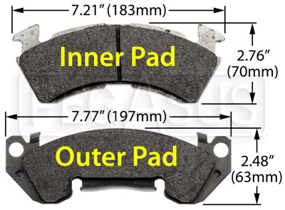 Large photo of Hawk Brake Pad, 1990-96 Caprice Police, GM 1 ton  (D153), Pegasus Part No. HB131-Compound-Thickness