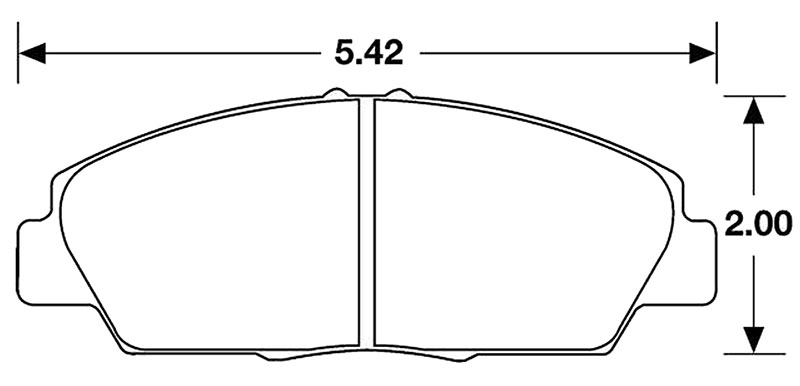 Large photo of Hawk Brake Pad, 92-96 Prelude S, SE, Si  (D568), Pegasus Part No. HB144-Compound-Thickness