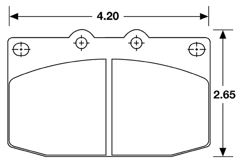 Large photo of Hawk Brake Pad, 86-95 RX7 Front, Hard Suspension (D331), Pegasus Part No. HB155-Compound-Thickness