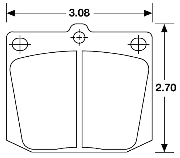 Large photo of Hawk Brake Pad, Austin, MG, Datsun, Toyota, Triumph (D2 D57), Pegasus Part No. HB169-Compound-Thickness