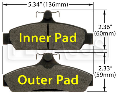 Large photo of Hawk Brake Pad: 84-87 Corvette 5.7L (D294), Pegasus Part No. HB173-Compound-Thickness