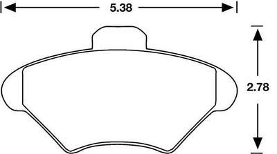 Large photo of Hawk Brake Pad, 94-98 Mustang, 93-97 Cougar (D600), Pegasus Part No. HB182-Compound-Thickness
