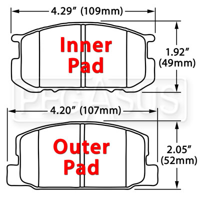 Large photo of Hawk Brake Pad, Subaru BRAT, Toyota Corolla (D282), Pegasus Part No. HB202-Compound-Thickness