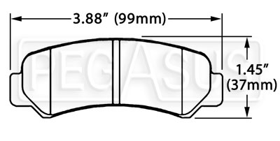 Large photo of Hawk Brake Pad, 84-87 Toyota Corolla GTX Rear (D305), Pegasus Part No. HB203-Compound-Thickness