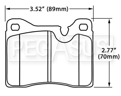 Large photo of Hawk Brake Pad, Alfa, BMW 2002, Ferrari, Lamborghini (D82), Pegasus Part No. HB206-Compound-Thickness