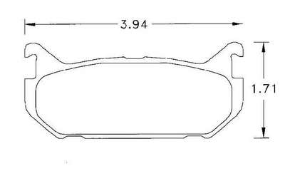 Large photo of Hawk Brake Pad, 93-97 Ford Probe / Mazda MX-6 Rear (D584), Pegasus Part No. HB212-Compound-Thickness