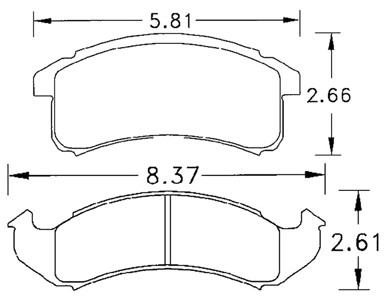 Large photo of Hawk Brake Pad, 94-97 Camaro / Firebird  (D623), Pegasus Part No. HB217-Compound-Thickness