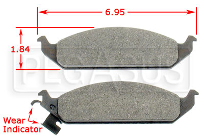 Large photo of Hawk Brake Pad, Chrysler, Dodge, Plymouth (D650), Pegasus Part No. HB233-Compound-Thickness